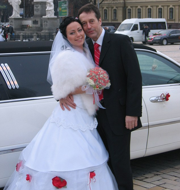 Romance: Anna Ziuzina and Barry Pring on their wedding day. A year later he died when he was was struck by a car travelling at 80 mph as he waited for a cab on the hard shoulder of a deserted dual-carriageway on the outskirts of Kiev in February 2008