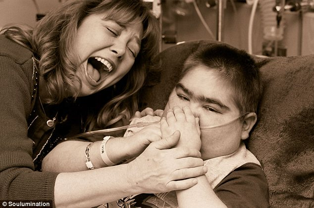 Tender moments: Barry, who died from a rare genetic disease called Fanconi anemia in 2007, is pictured with his mother Cindy in this photo from Soulumination