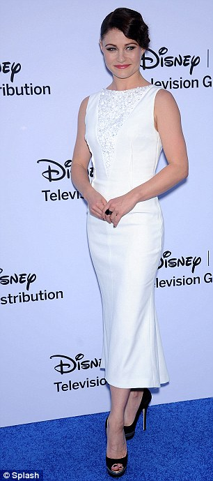Stunner: Lost actress Emilie de Ravin looked a picture of elegance in her classy white dress