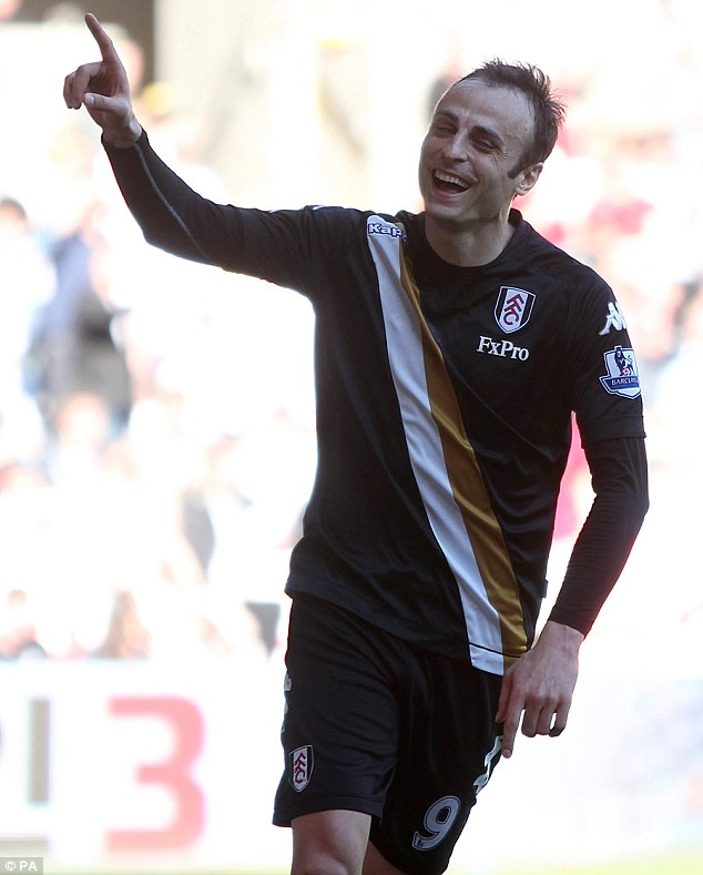 On target: Dimitar Berbatov helped find the net for Fulham in their 3-0 win at Swansea