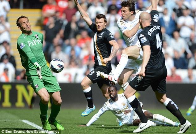 Standing firm: Mark Schwarzer stops a shot from Swansea striker Michu