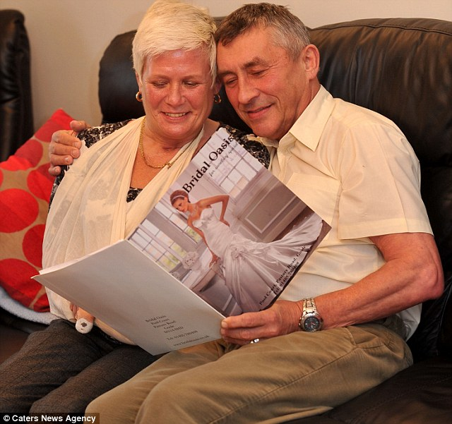 Debbie was determined to walk down the aisle and was able to wear her original wedding dress on the big day, despite having had it fitted before she lost her legs