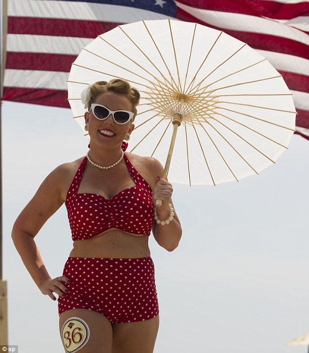 Roaring Twenties: Ashley Cargle was one of 40 contestants who showed off their vintage bathing suit during the bathing beauties contest