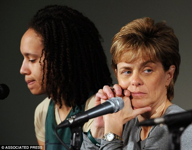 Still friends: Griner explained in an interview that Kim Mulkey (right) and staff at Baylor thought being open about sexual preferences could potentially damage the programme's recruitment success and reputation