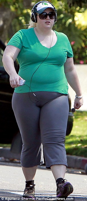 Fighting the flab: The funnywoman was marching around at quite a pace as she burned through some calories