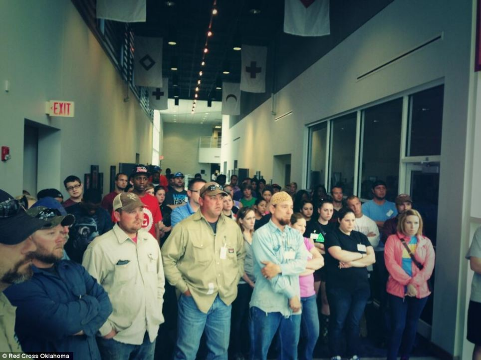 At the ready: Red Cross Oklahoma shared this picture of the influx of volunteers who arrived at centers following the storm
