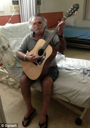 'Miami cannibal' victim Ronald Poppo has learned to play guitar as part of his ongoing treatment after the horrifying attack
