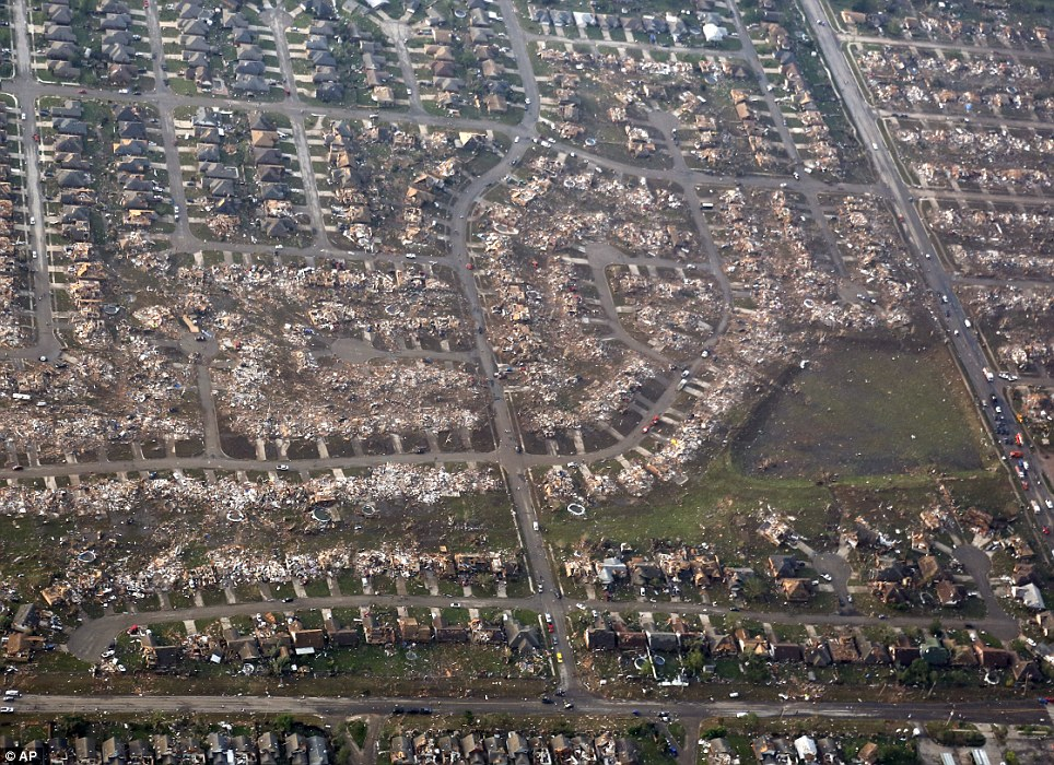 Wipeout: An aerial shot shows the path of destruction that cut through the town of Moore in Oklahoma