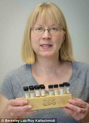 Karen Nelson of Archives and Records at the Lawrence Berkeley National Laboratory holds samples of moon dust from Apollo 11 mission found in a warehouse in San Jose
