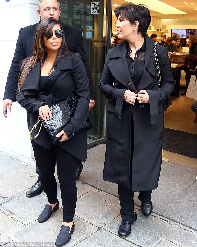 Family time: Kim has been joined in the French capital by her mother Kris Jenner