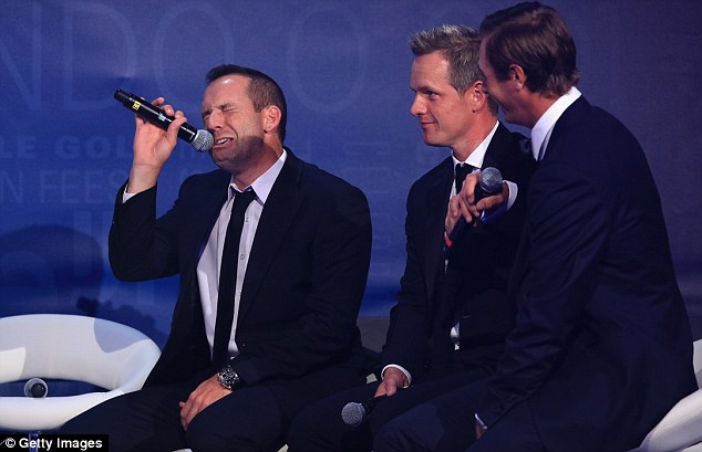 Euro stars: Garcia's Ryder Cup team-mates Luke Donald (centre) and Nicolas Colsaerts were also on stage