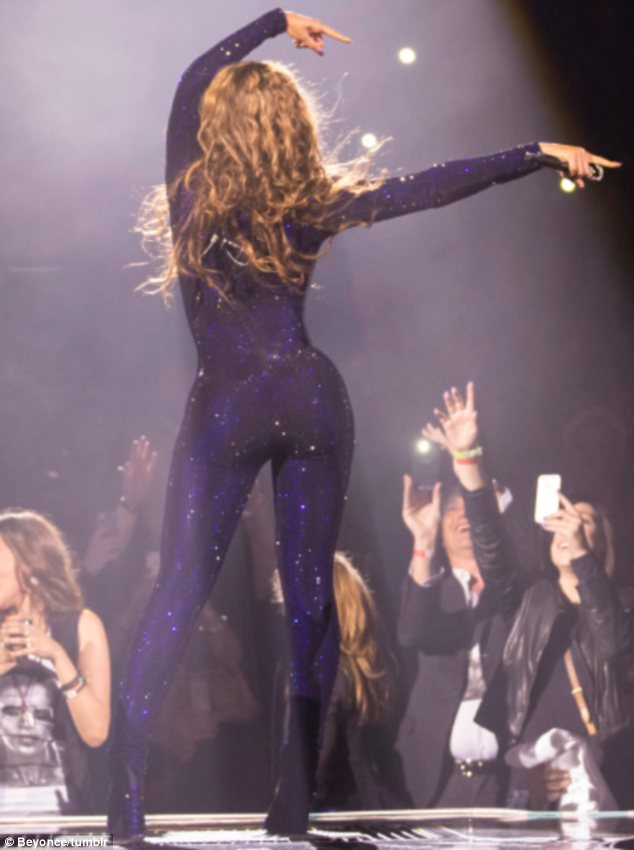 Bootylicious: The eye-catching ensemble clung to every inch of Beyonce's famous curves