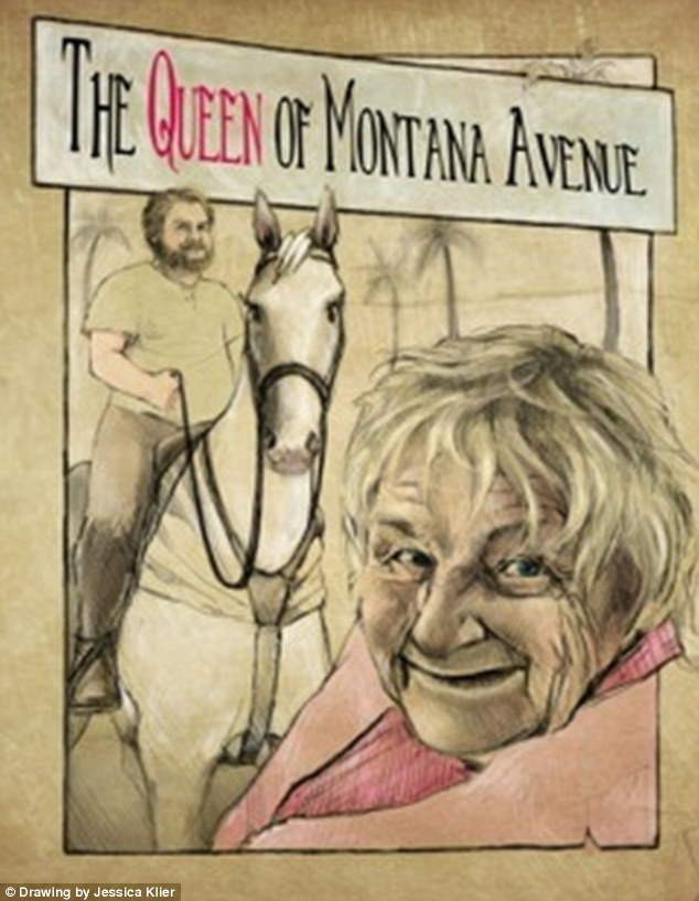 Knight on a white horse: Zach and Mimi in a promotional drawing for upcoming documentary Queen Mimi about the unlikely friendship