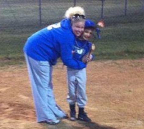 Tragic: High school teacher Megan Futrell with her young son