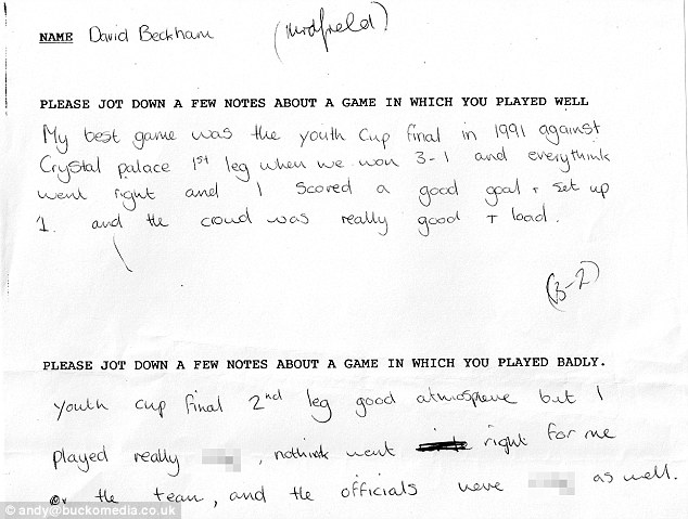 Reflective: David Beckham's notes as a 17-year-old in the early 1990s