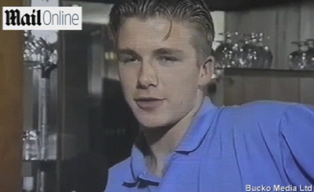Raw recruits: Becks looks composed during his first official media date at United in 1992