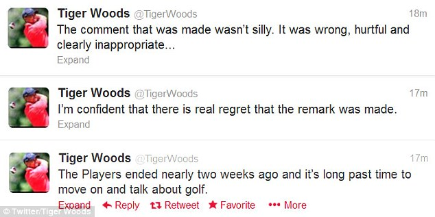 Response: Woods took to Twitter to hit back at claims that Garcia's comments were just 'silly'