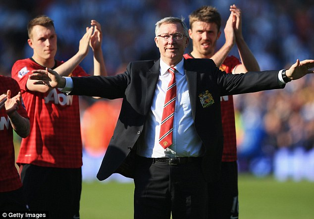 Farewell: Sir Alex Ferguson is applauded by his players after his final game in charge of Manchester United away at West Brom last weekend