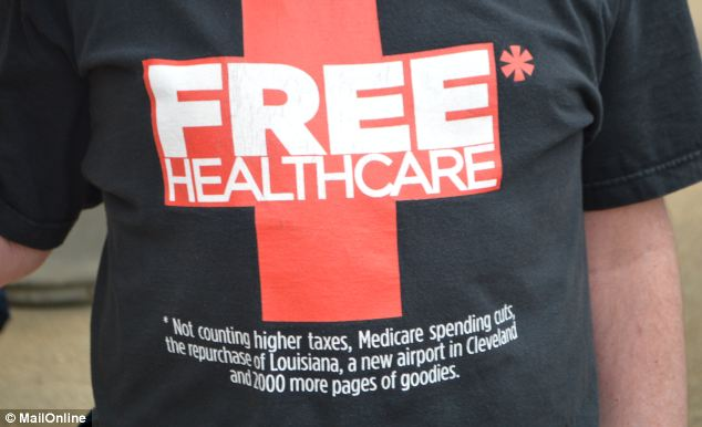 One protester in Washington wore a 'FREE HEALTHCARE' t-shirt with plenty of sarcastic fine print on Tuesday