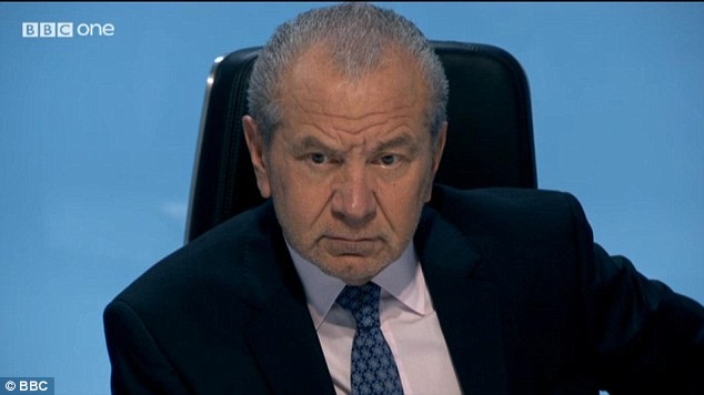 Lord Alan Sugar reacts with consternation at the fact candidate Neil Clough is even more arrogant and dogmatic than his namesake, Brian