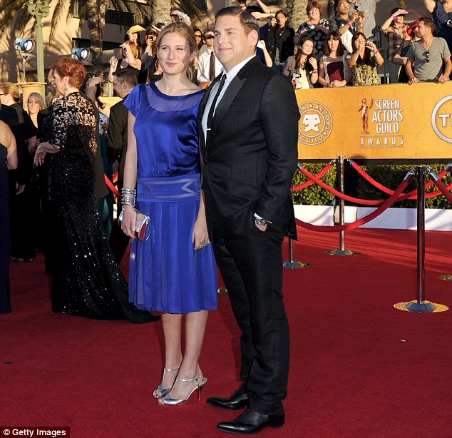 Former flame: Jonah and ex-girlfriend Ali Hoffman at the Screen Actors Guild Awards in January 2012