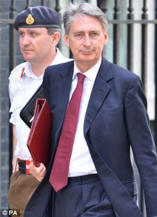 Defence Secretary Philip Hammond arriving for the second emergency Corbra meeting