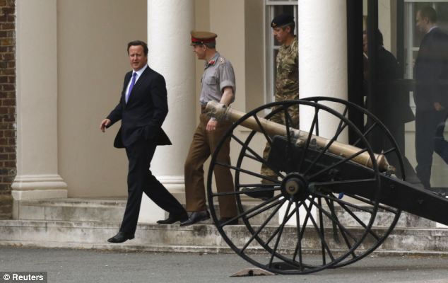 Troops: The Prime Minister visited an army barracks near the scene of the killing in Woolwich