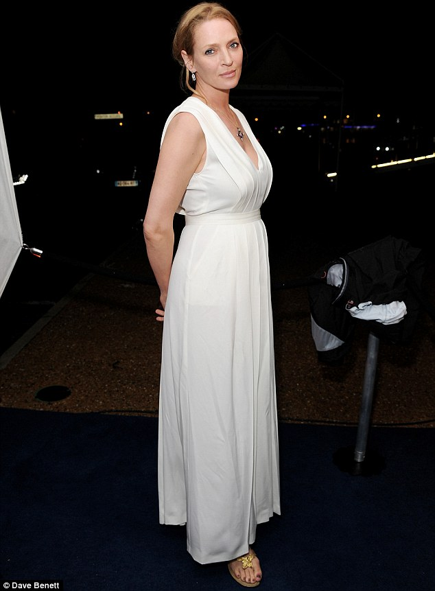 Crisp in white: Uma Thurman was spotted at the Robert Redford All is Lost after party in Cannes, France on Wednesday
