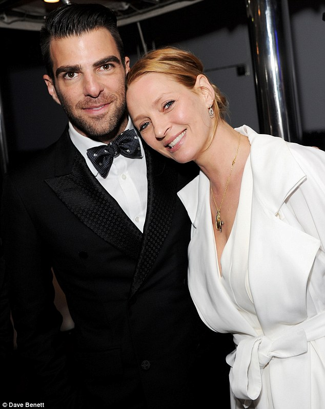 Fellow thespians: The actress posed with Zachary Quinto at the event as part of the 66th annual film festival