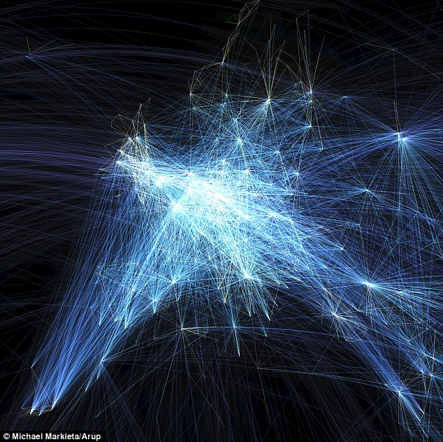 This flight path visualisation shows flights across Europe.