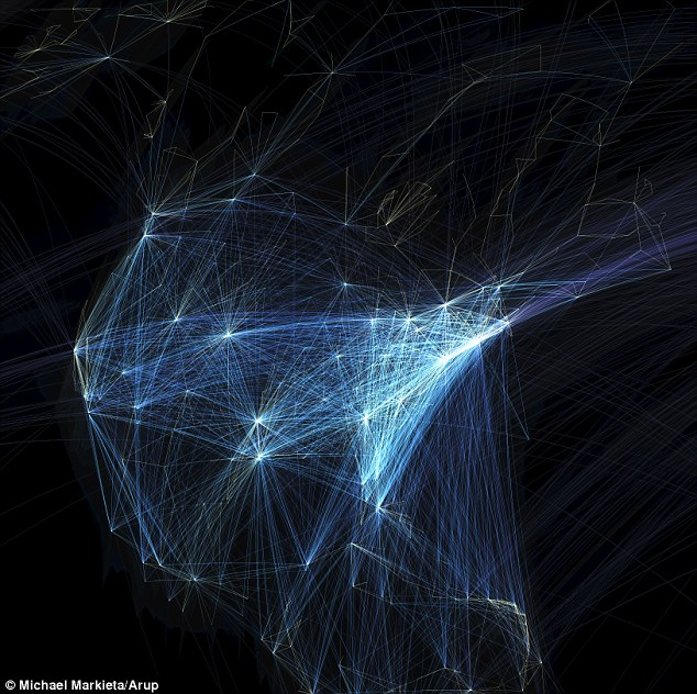 Flight paths across North America. The eastern coast is more popular in terms of the amount of flight destinations from Europe and other continents.