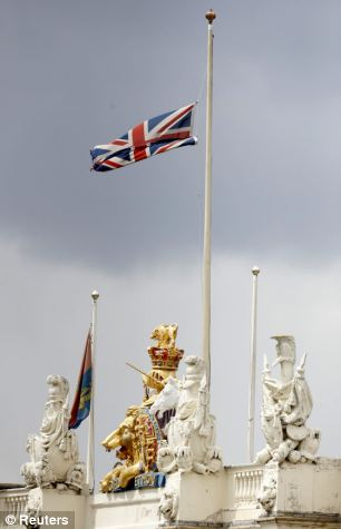 The Union Flag flies at half mast over Wellington Barracks today as a tribute to the slaughtered soldier