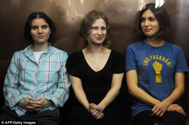 Pussy Riot: Yekaterina Samutsevich, Maria Alyokhina and Nadezhda Tolokonnikova were convicted of 'hooliganism motivated by religious hatred' in August last year