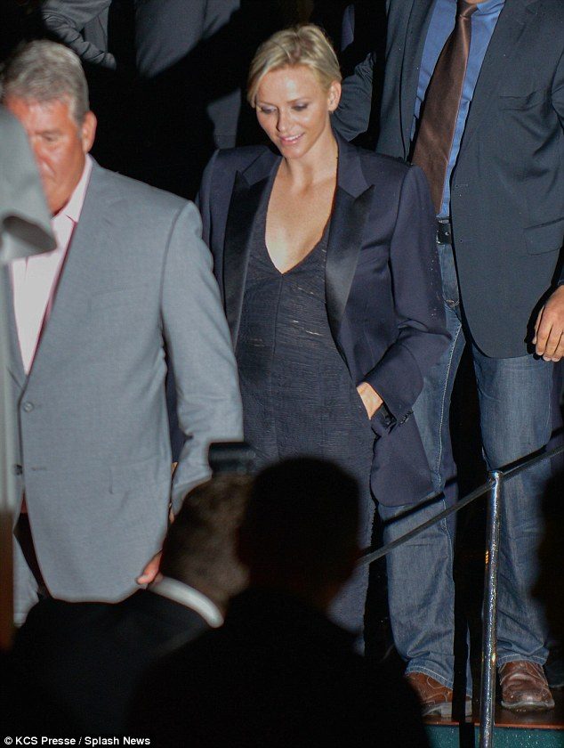 Making her entrance: She looked glowing in her trouser suit as she got ready to let her hair down on Wednesday evening