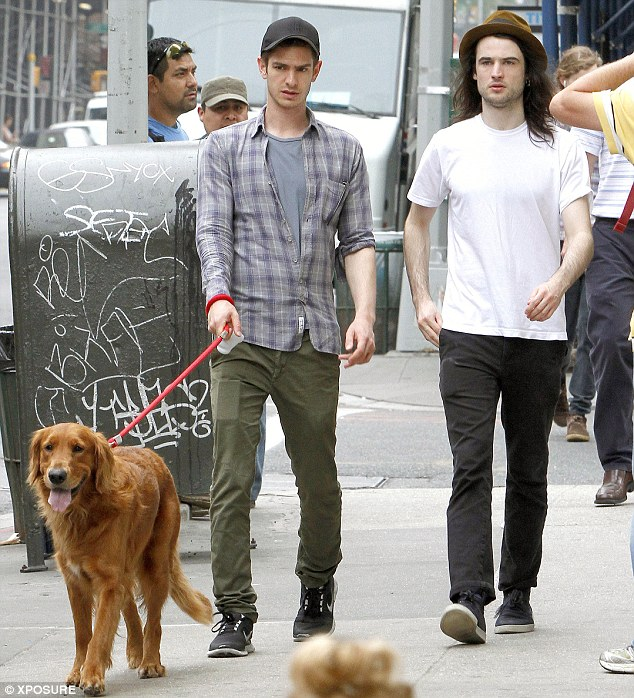 BFFs: Andrew Garfield and Tom Sturridge went out in New York on Wednesday, walking the Spider-Man star's dog