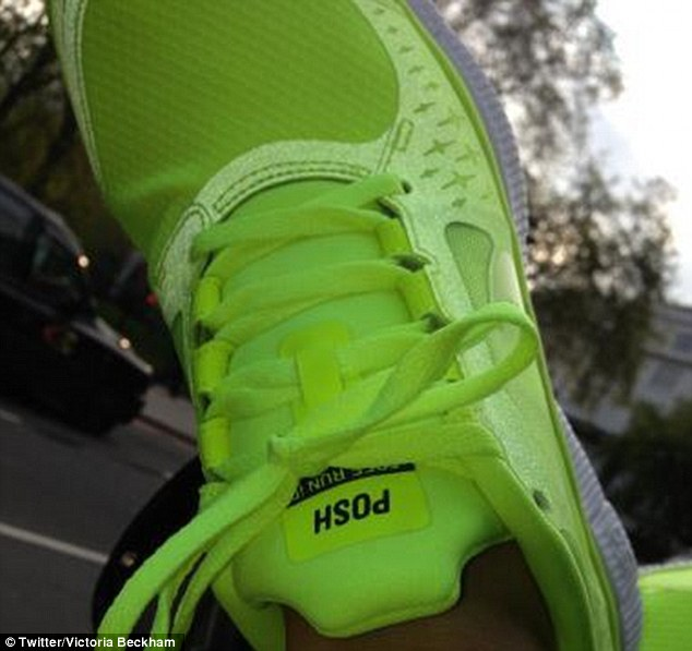 Twitter fan: It's a much different picture to the one she shared earlier this week, showing off her bright personally emblazoned trainers