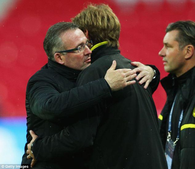 Warm welcome: Dortmund coach Jurgen Klopp and Aston Villa manager Paul Lambert