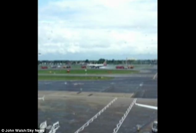 The airport has said all of the passengers were 'safely evacuated' and 'accounted for'