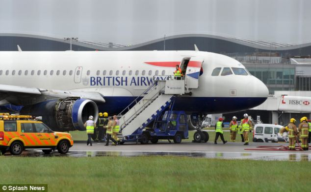 The British Airways aircraft, which was bound for Oslo, is seen sitting on the northern runway at Heathrow