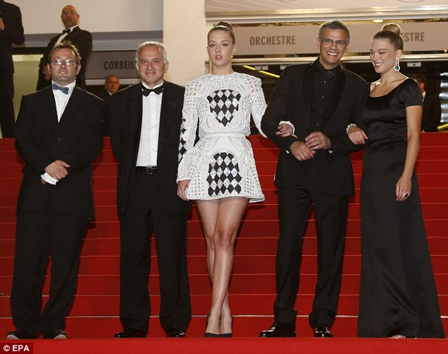 All together: (L-R) Producers Vincent Maraval, Brahim Chioua, Adele Exarchopoulos, Tunisian director Abdellatif Kechiche and Lea Seydoux poses at the screening