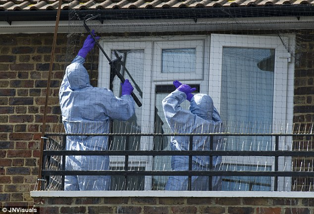 Search: Police forensic teams check the gutters of the home where Blessing Daniels lives in Romford yesterday