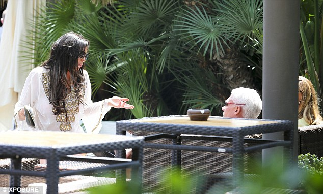 Quieter: Lauren and Wayne went off to quieter spot where they were joined by Jessica Wright