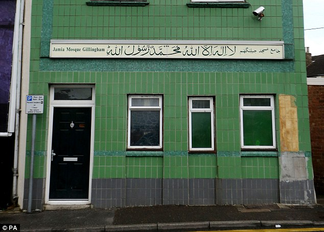 Arrest: The 85-year-old woman was arrested, cuffed and taken away from outside Gillingham Mosque (pictured) today as she hurled abuse during Friday prayers