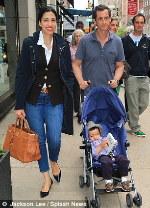 Anthony Weiner, Huma Abedin and son Jordan go shopping at Barney's in NYC.<
