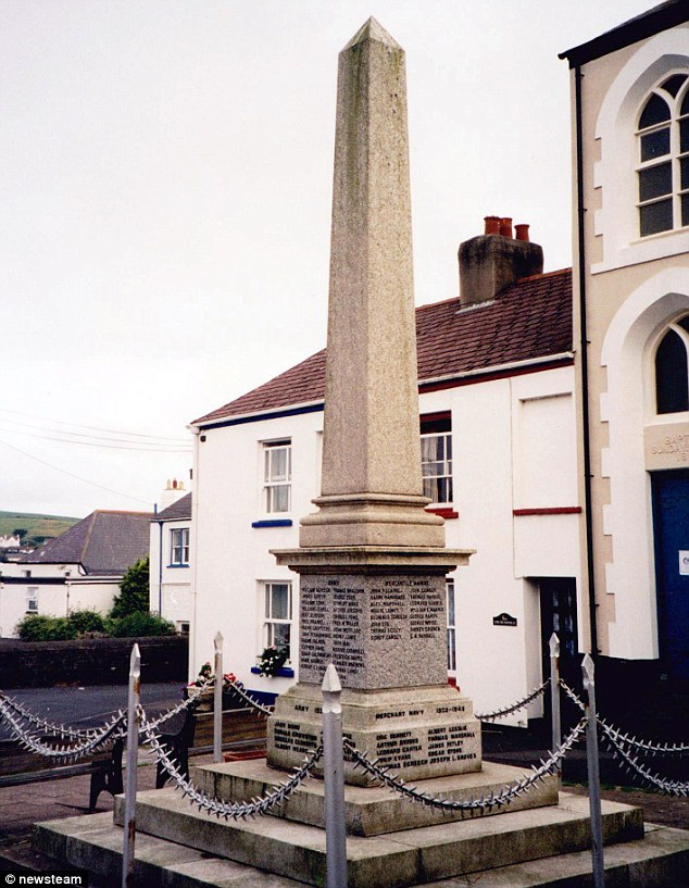 Remembrance: Sydney Cawsey and John Carter Cawsey are remembered on a war memorial in Appledore, Devon