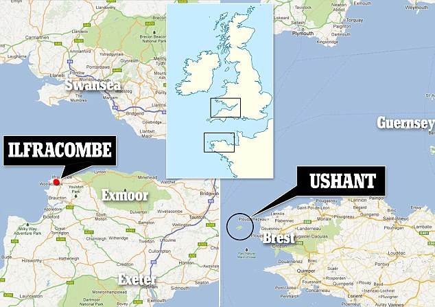 The Ilfracombe man was swept into the sea off Ushant, north west France, on Thursday afternoon