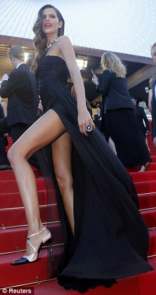 Endless legs: Izabel worked the red carpet like a pro