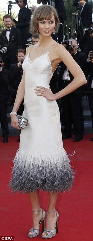 Stunning: Karlie Kloss (left) and Brazilian model Izabel Goulart make an entrance at the Cannes Film Festival screening of The Immigrant