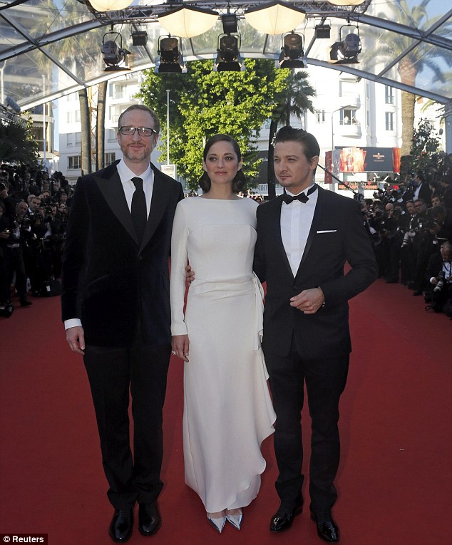 Our moment: Marion with director James Gray (left) and co-star Jeremy Renner
