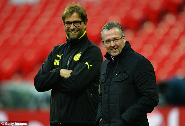 Visitor: Dortmund coach Jurgen Klopp (left) at Wembley with Aston Villa manager Paul Lambert, who won the Champions League with the German club in 1997